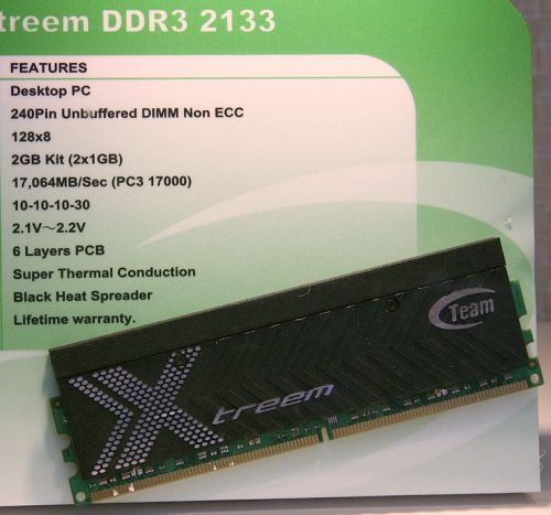 Team Xtreem DDR3 2133Mhz 2Gb kit CeBIT 2008