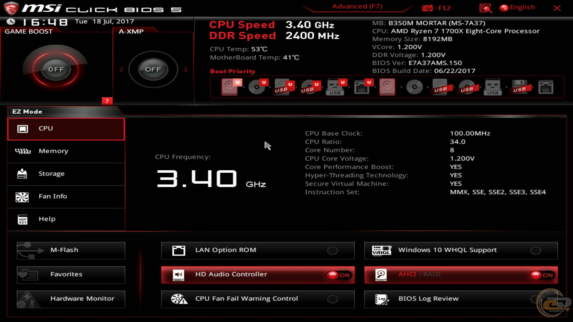 MSI B350M MORTAR BIOS