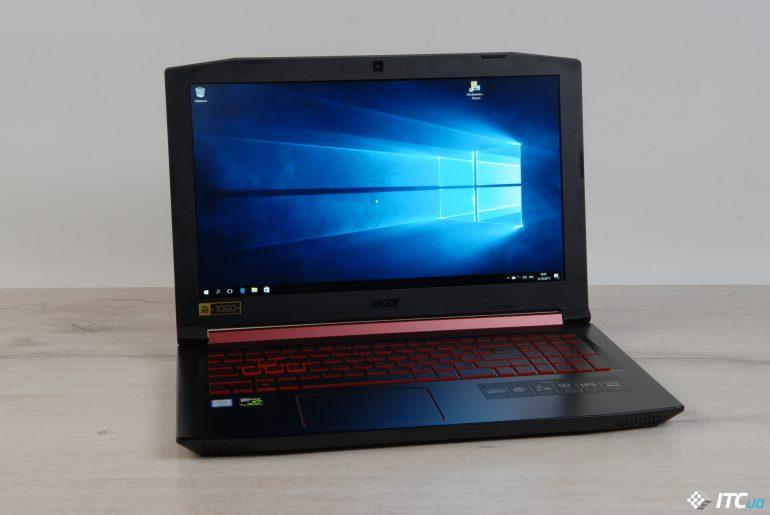 Acer Nitro 5 вид спереди на открытый ноутбук