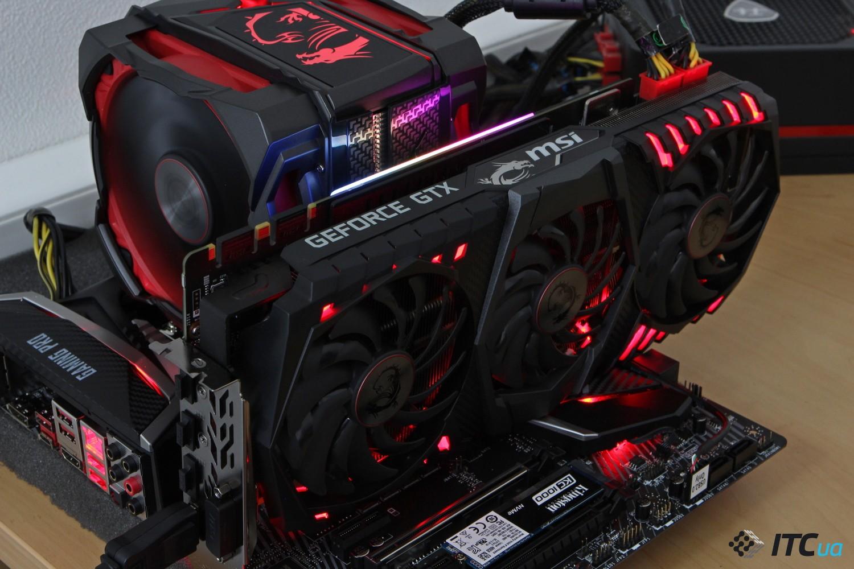 MSI GeForce GTX 1080 Ti в материнской плате фото 1