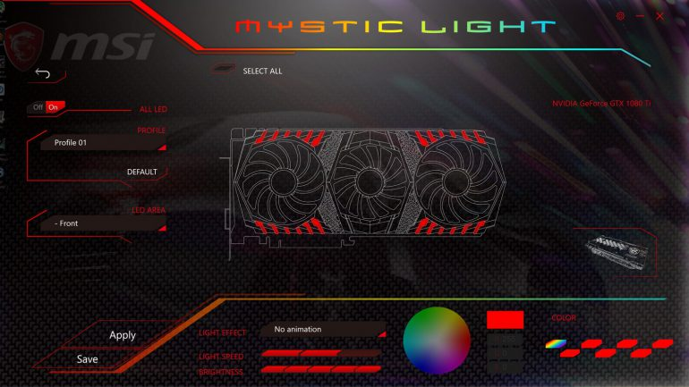 MSI GeForce GTX 1080 Ti MSI Mystic Light