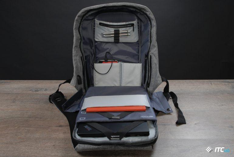 XD Design Bobby Anti-Theft Backpack вид внутри полностью открытым