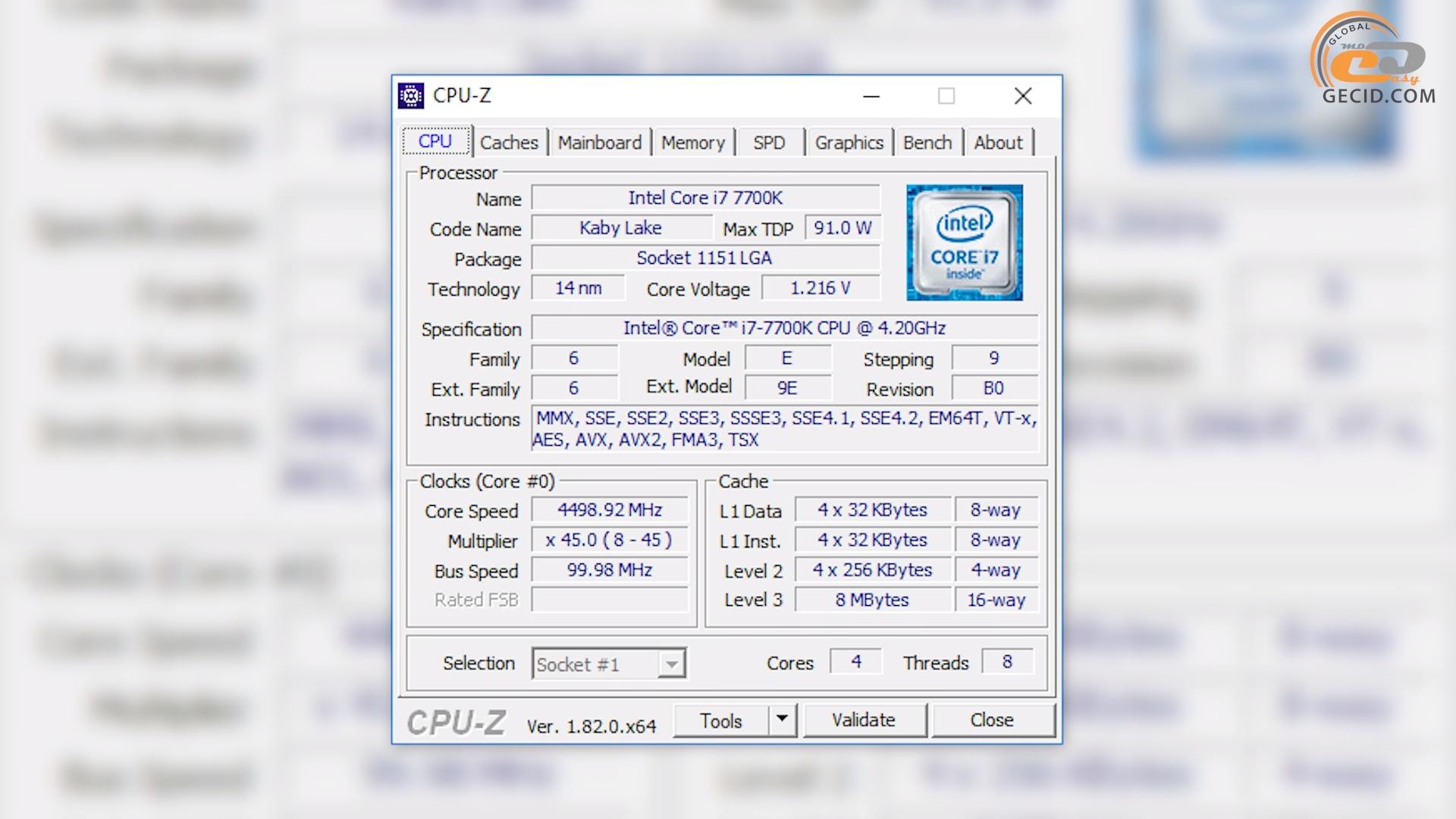 cpu-z i7-7700k