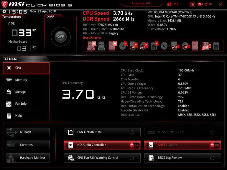 MSI B360M MORTAR BIOS