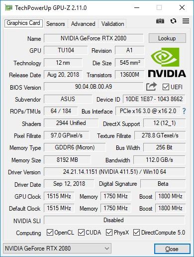 NVIDIA GeForce RTX 2080 cpu z