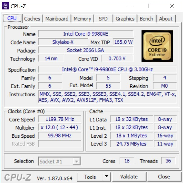 Intel Core i9-9980XE cpu-z