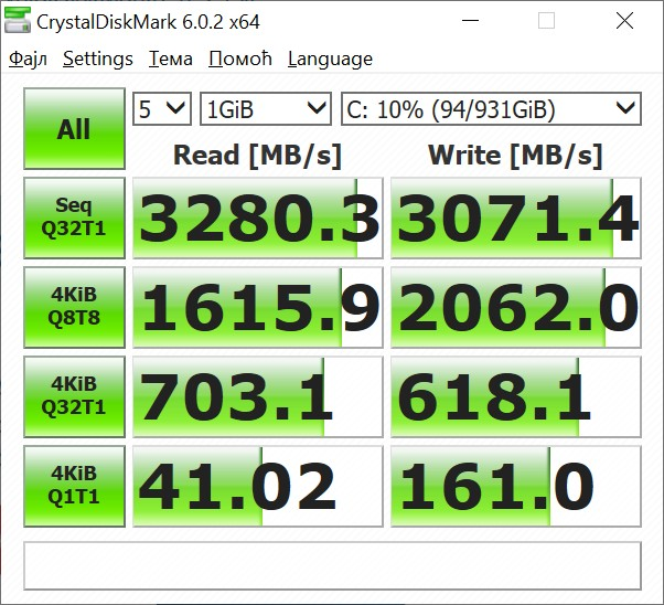 Samsung 970 EVO Plus CrystalDisk