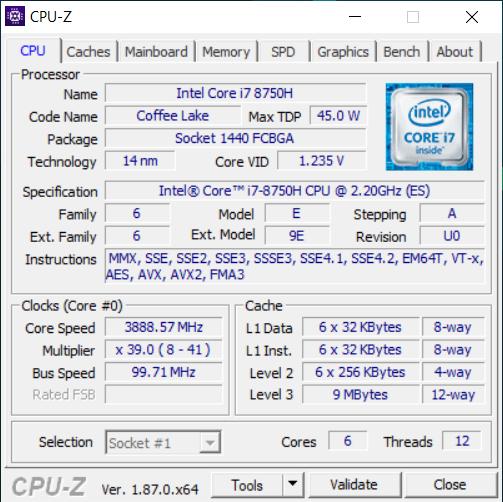 Acer Predator Triton 500 cpu-z
