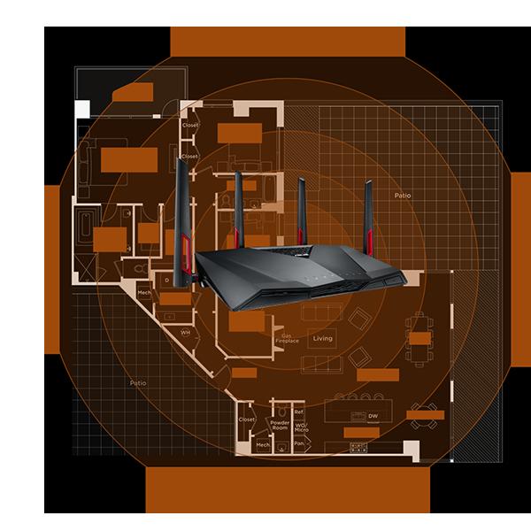 Широкая зона покрытия Asus RT-AC88U