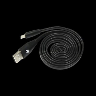 2E USB 2.0 Lightning Data/Charge Flat 1m, Black (2E-CCTI03F-1B)