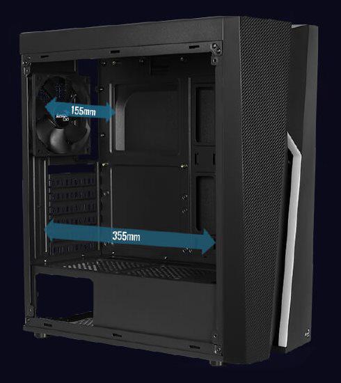 Поддержка процессорных кулеров высотой до 155 мм и видеокарт длиной до 355 мм