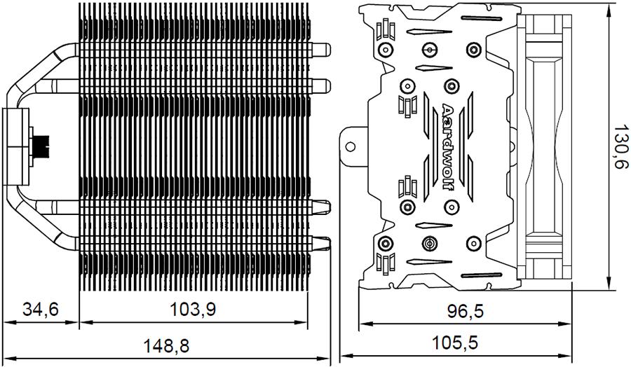 Размер с вентилятором с одной стороны