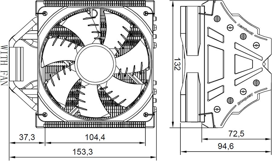 Размеры с вентилятором