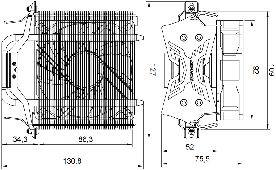 Размер с вентилятором