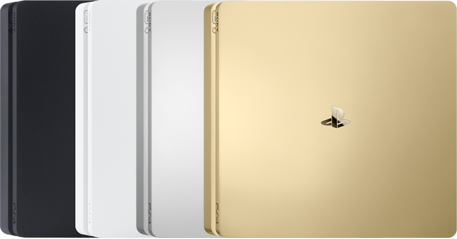 PlayStation 4 gold, white, black, silver