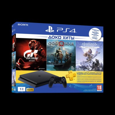Sony PlayStation 4 Slim 1Tb (Horizon Zero Dawn/God of War/Gran Turismo/PS Plus) купить
