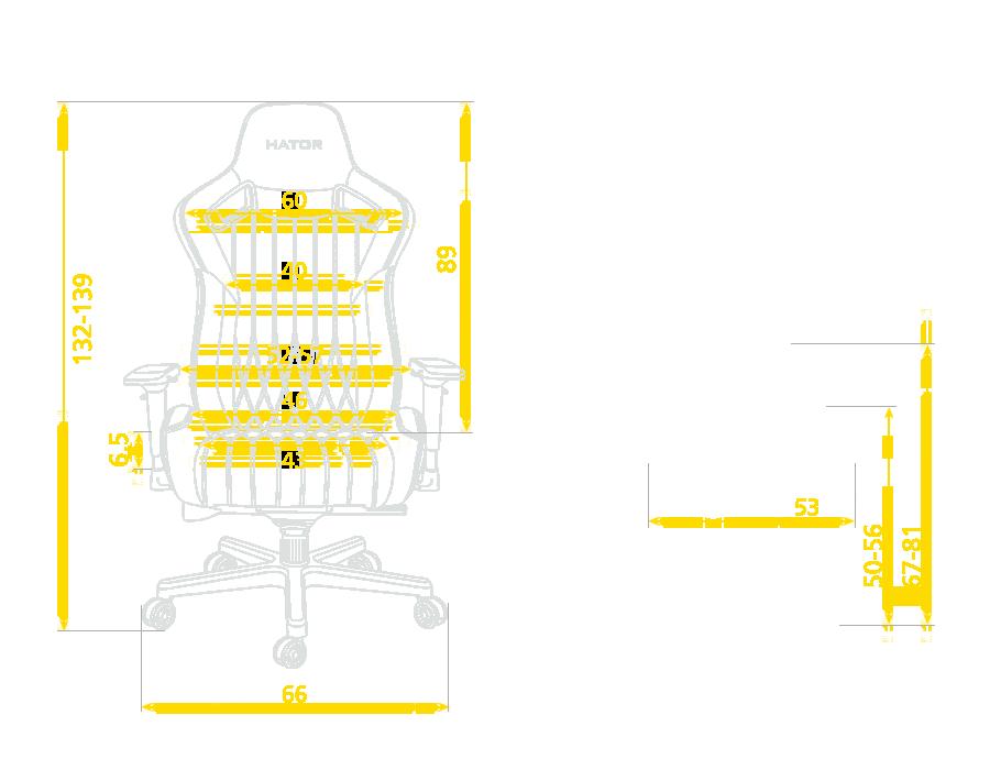 Размер кресла Hator