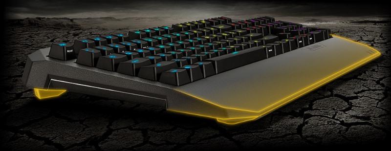 клавиатура с желтыми линиями
