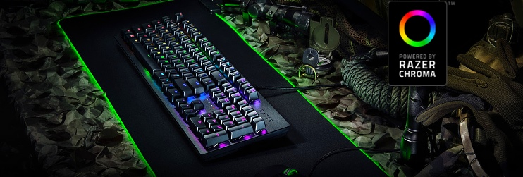 клавиатура на коврике с лого razer chroma
