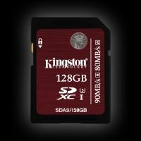 Kingston 128GB SDXC C10 UHS-I U3 R90/W80MB/s 4K (SDA3/128GB)