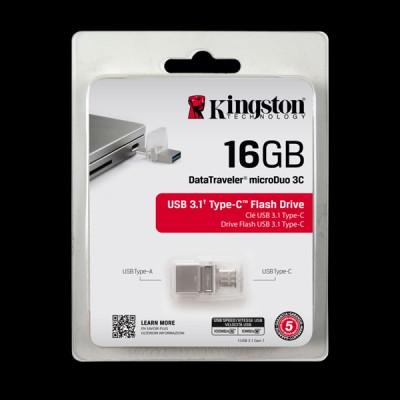 Kingston 16Gb DataTraveler Micro 3.1+Type-C Metal Silver DTDUO3C/16GB купить