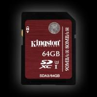 Kingston 64GB SDXC C10 UHS-I U3 R90/W80MB/s 4K (SDA3/64GB)