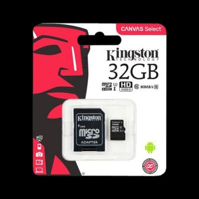 Kingston 32GB microSDHC C10 UHS-I R80MB/s + SD  (SDCS/32GB)