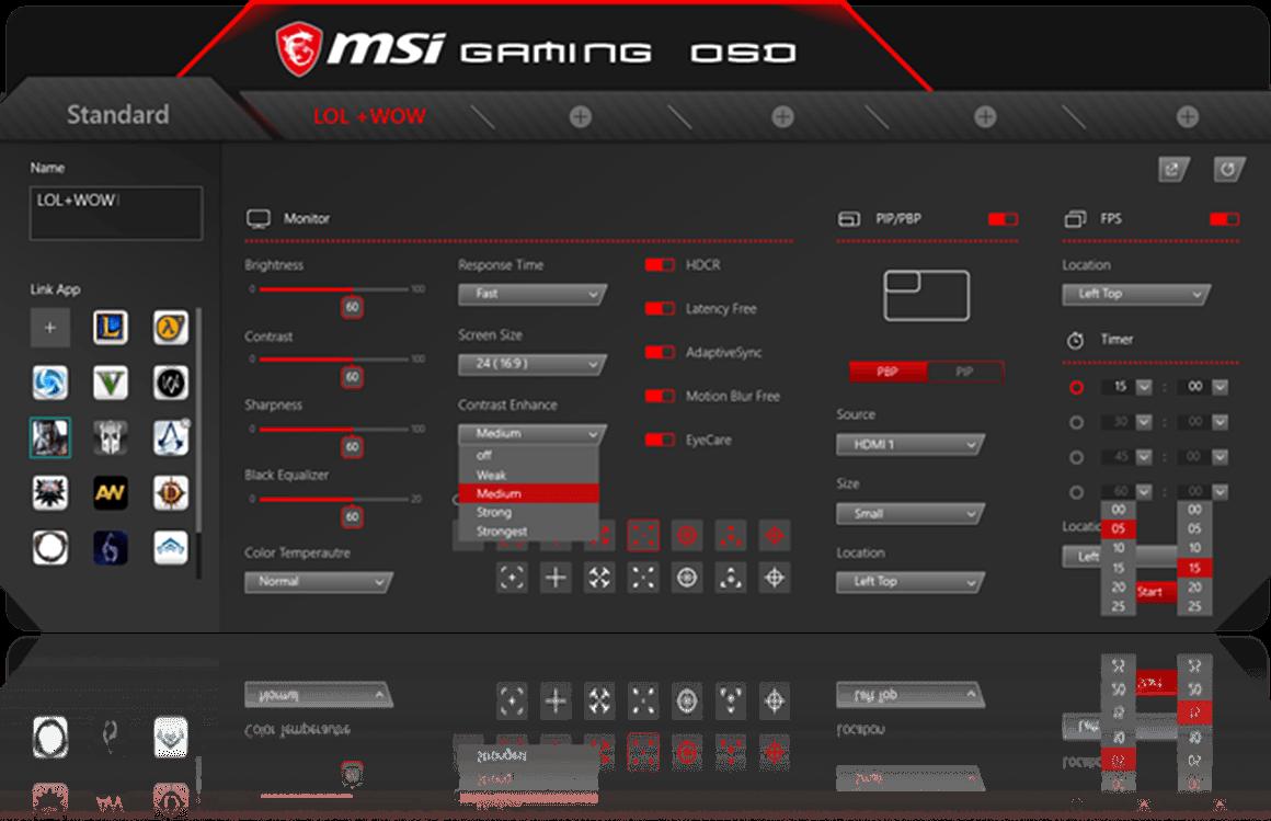 Приложение Gaming OSD и его преимущества