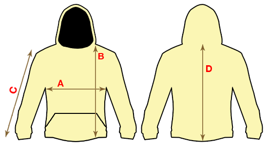 Пример как измерять куртку, реглан или толстовку