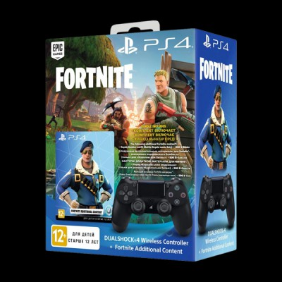 PlayStation 4 Dualshock 4 v2 Wireless Controller Jet Black Fortnite купить