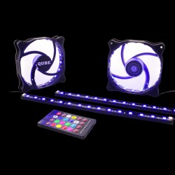 QUBE RGB Aura Lights + 2xFans 120mm 18LED (RGB_AURA_KITv01)