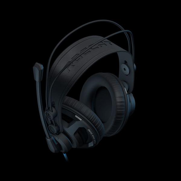 Игровая стереогарнитура с LED-подсветкой Jet.A GHP-300 чёрно-синяя (звуковая схема 2.0 управление на наушнике 2x mini jack 3.5мм 3pin+USB + адаптер