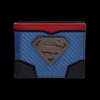DC Comics Superman Carbon Fiber Metal Badge Bifold Wallet (MW5ELQSPM)