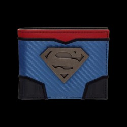 DC Comics Superman Carbon Fiber Metal Badge Bifold Wallet (MW5ELQSPM)