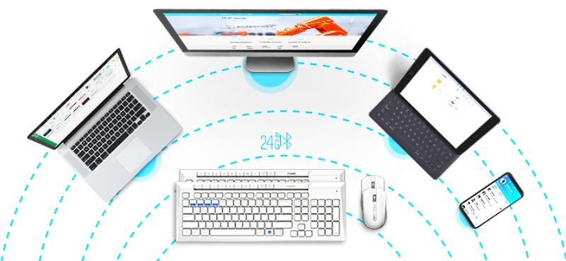 клавиатура окружена устройствами