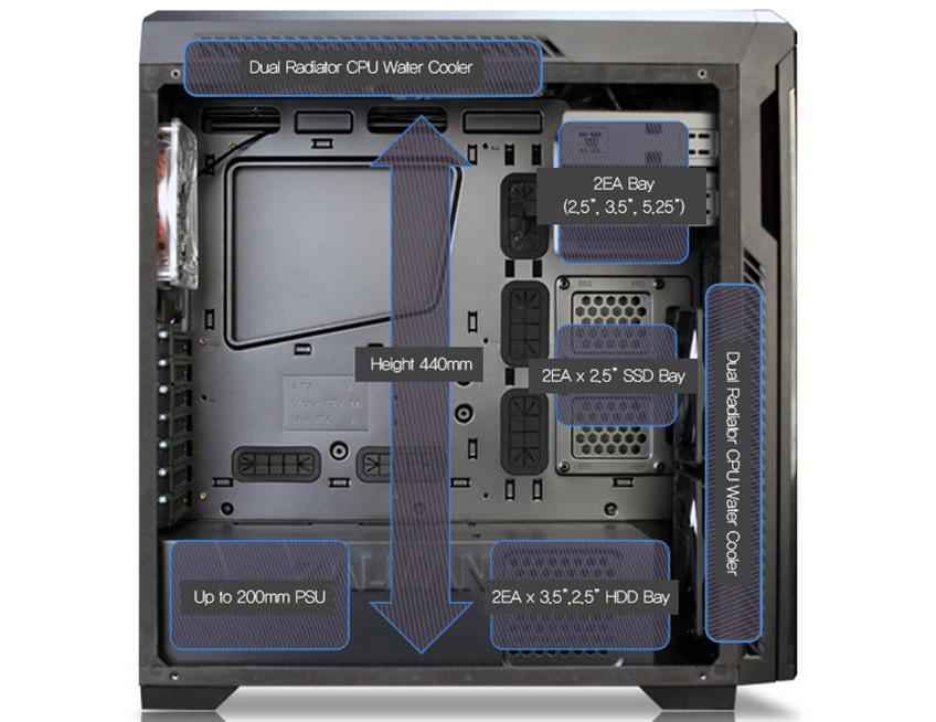 Пространство для установки ODD/HDD/SDD